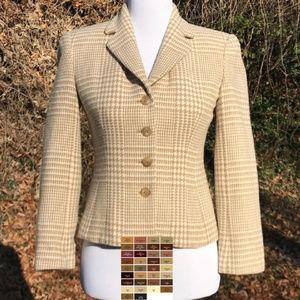 T Wool Cashmere Blend Blazer Houndstooth Button Up